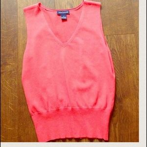 Ann Taylor Coral Sleeveless V-neck Top - Size S